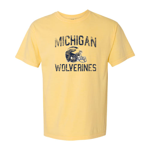 Michigan Faded Helmet Comfort Colors Heavyweight Ringspun Short Sleeve T Shirt - Butter