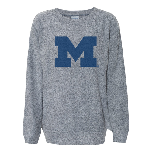 Primary Logo Michigan Boxercraft Cozy Crew - Denim