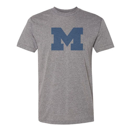 Distressed Block M University of Michigan American Apparel Triblend T Shirt - Athletic Grey