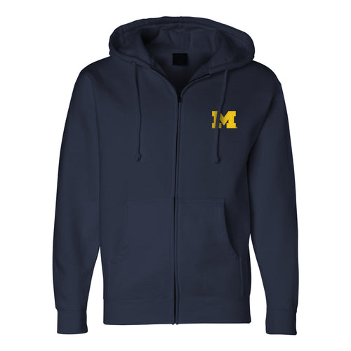 University of Michigan Embroidered Block M Independent Full Zip Hoodie - Navy