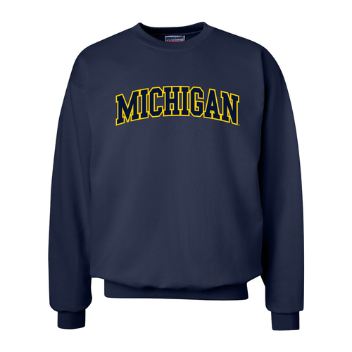 Block Arch University of Michigan Crewneck Sweatshirt - Navy