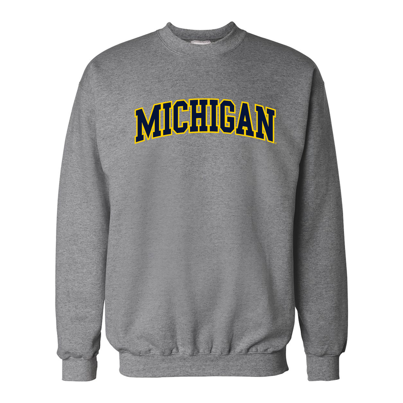 Block Arch University of Michigan Crewneck Sweatshirt - Oxford
