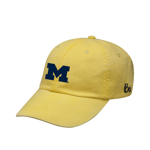 Bo Schembechler Signature University of Michigan Block M Adams Pigment Dyed Hat - Lemon