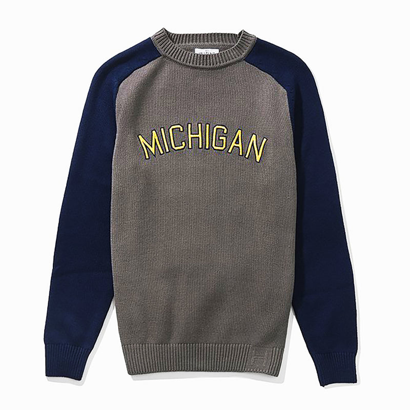 University of Michigan Hillflint Regional Sweater - Grey/Navy