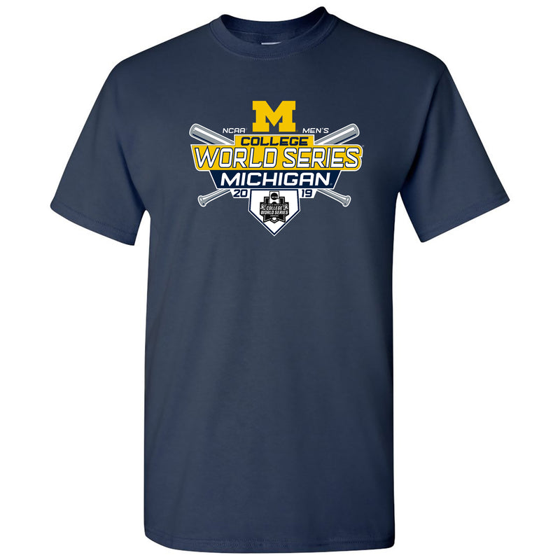 University of Michigan 2019 Baseball College World Series Basic Cotton Short Sleeve T Shirt - Navy