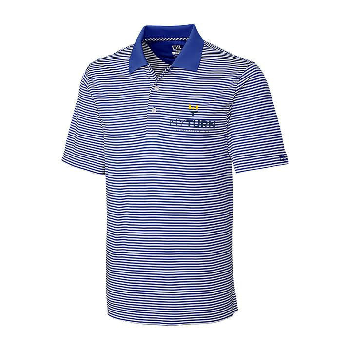 My Turn C&B Trevor Stripe Polo - Tour Blue/White