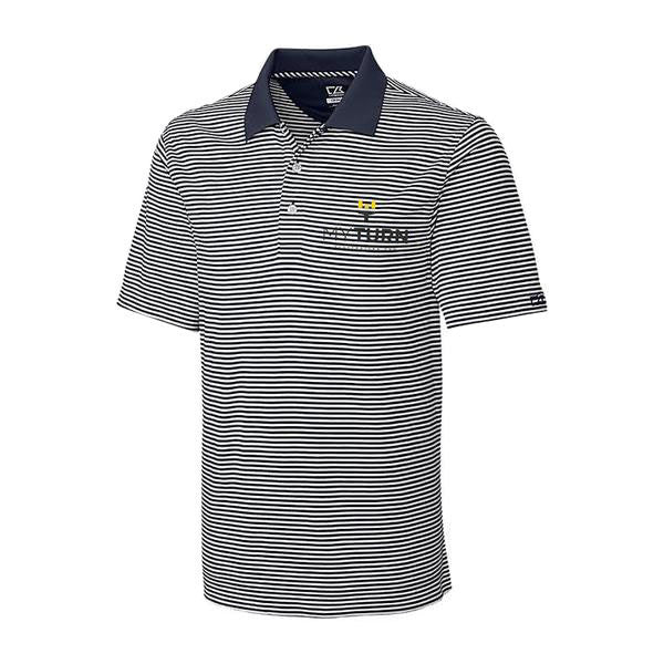 My Turn C&B Trevor Stripe Polo - Onyx/White