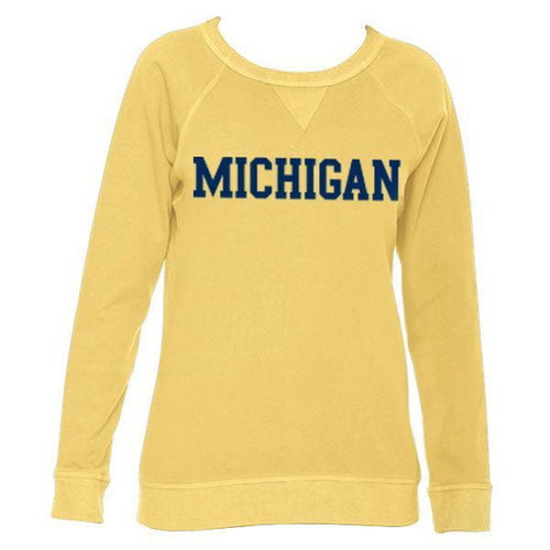 Michigan Womens French Terry Crew - Mustard