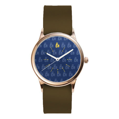 Bo Schembechler Signature Rose Metal Watch - Brown Leather Band
