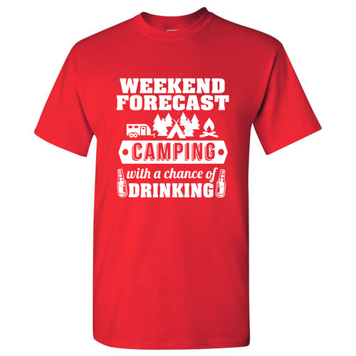 Weekend Forecast Camping With a Chance of Drinking - Hiking, Outdoors, Nature, Fishing, Drinking - Funny Adult Cotton T-Shirt - Red