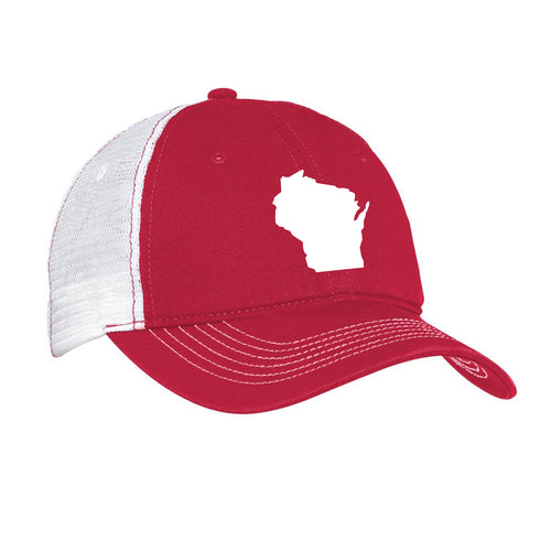 Wisconsin Outline Hat - Red