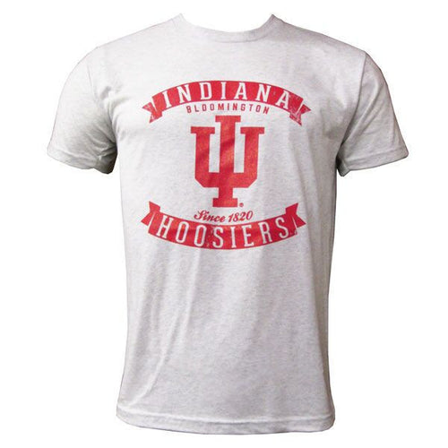 Indiana University Hoosiers Banner Distress Next Level Short Sleeve T-Shirt - Heather White