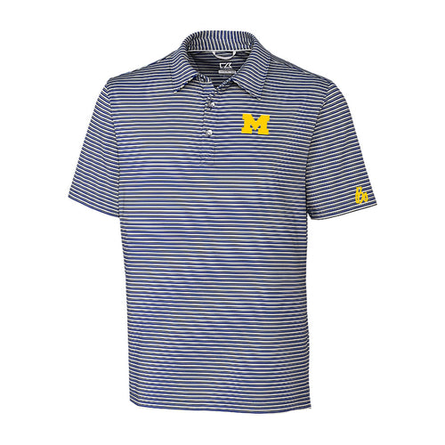 Block M Bo Sig University of Michigan Cutter and Buck Division Stripe Polo - Tour Blue/Polished