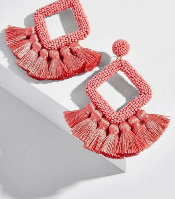 Summer Pink Earring with Beads and Fringes