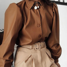 Load image into Gallery viewer, Olivia Leather Blouse