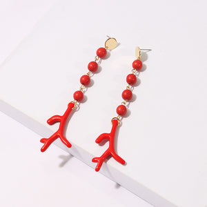 Coral Red Earrings