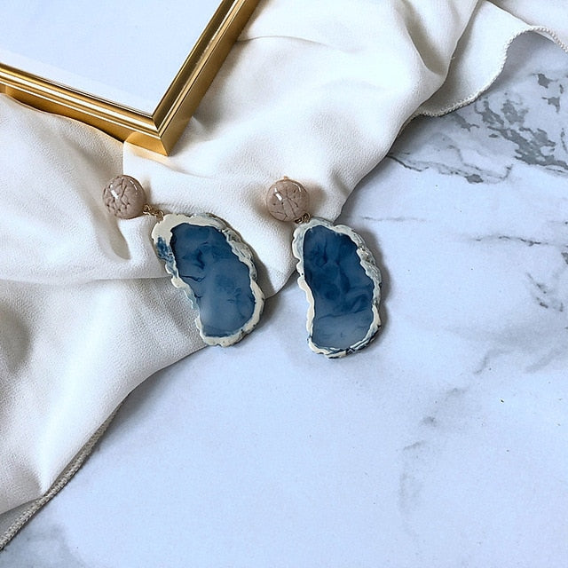 Marble Inspired Earring Blue