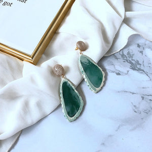 Marble Inspired Earring Green