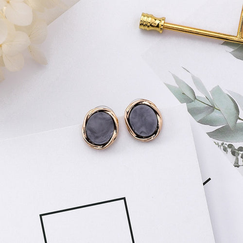 Small round Marble Earrings with Golden Frame