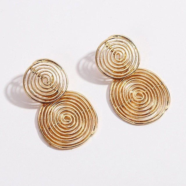 Double Golden Circumference Earring