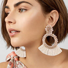 Load image into Gallery viewer, White-Pink Beaded Earrings with Fringes