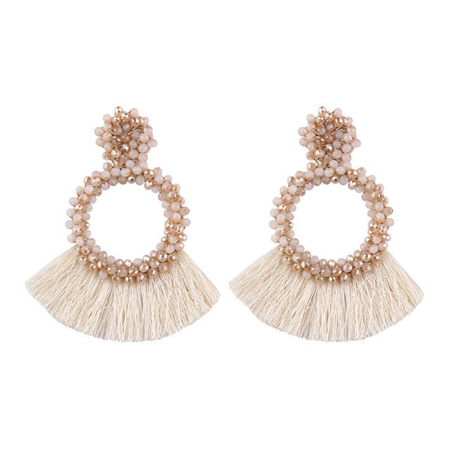 White-Pink Beaded Earrings with Fringes