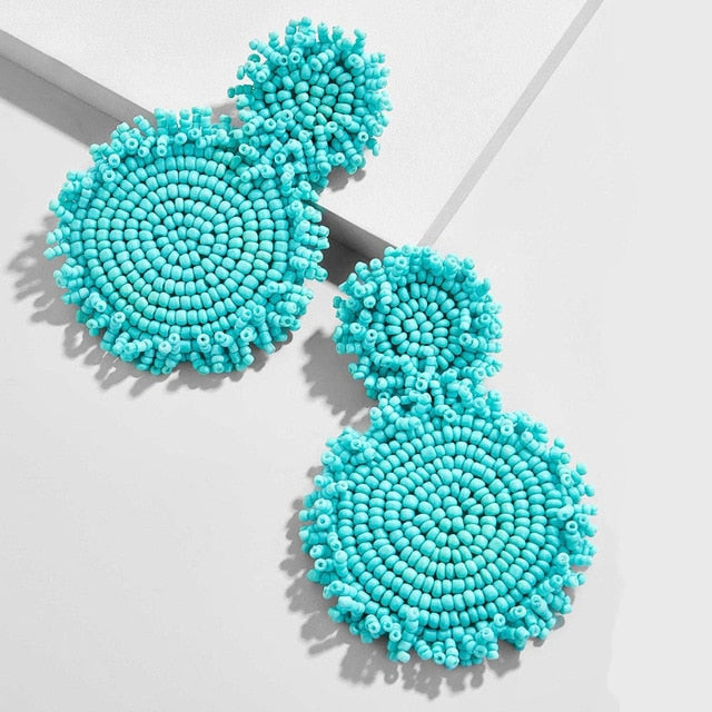 Light Turquoise Round-two piece Earring