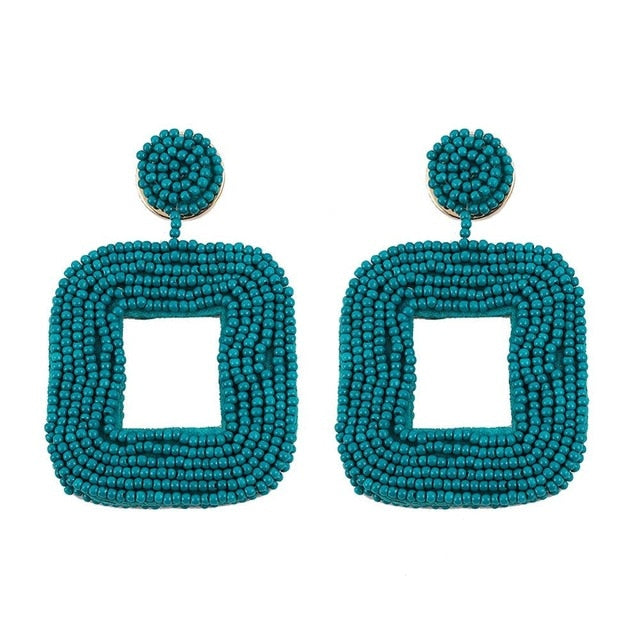 Dark Turquoise Square-two piece Earring