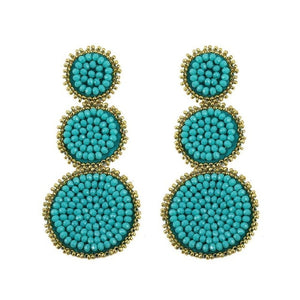 Turquoise Triple Circle Beaded Earring