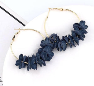 Blue Flower Hoops