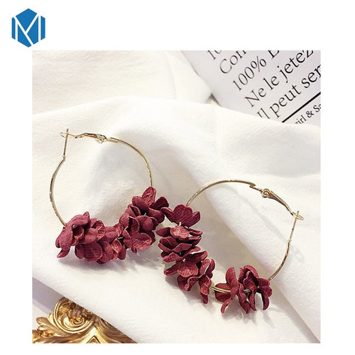Maroon Flower Hoops