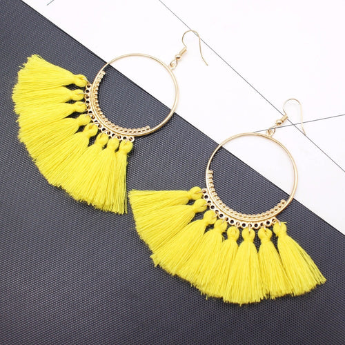 Big Gold-Yellow Fringe Earrings