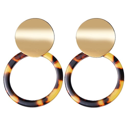 Leopard Patterned Round Gold  Two-piece Earring