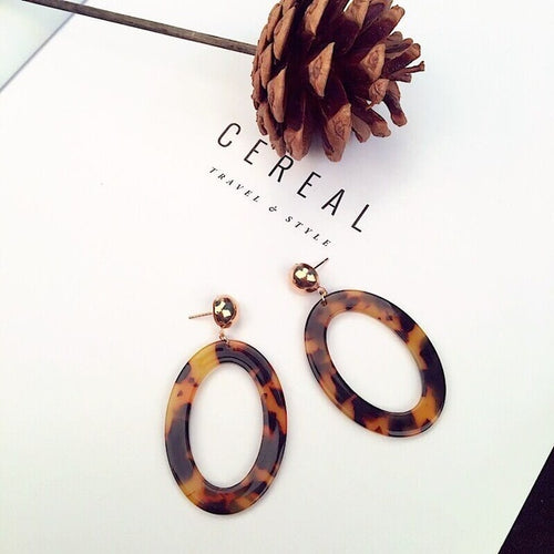 Leopard Patterned Round-long Earring