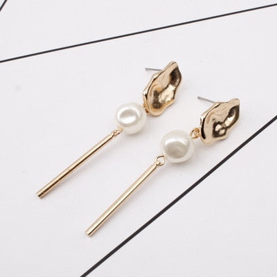 Three Piece - Gold Pearl Earring Long