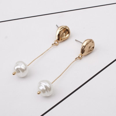Three piece - Gold Lower Pearl Earring Long