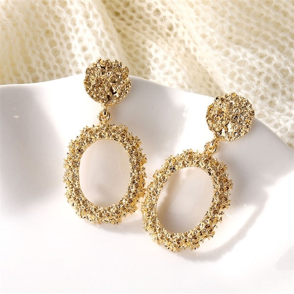 Atenea Gold Round Earrings