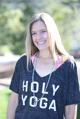Stacked Holy Yoga Womens Slouchy V-Neck Tee