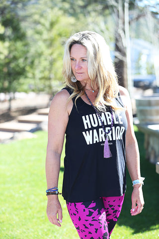 Humble Warrior Stacked - Womens Flowy Racerback Tank