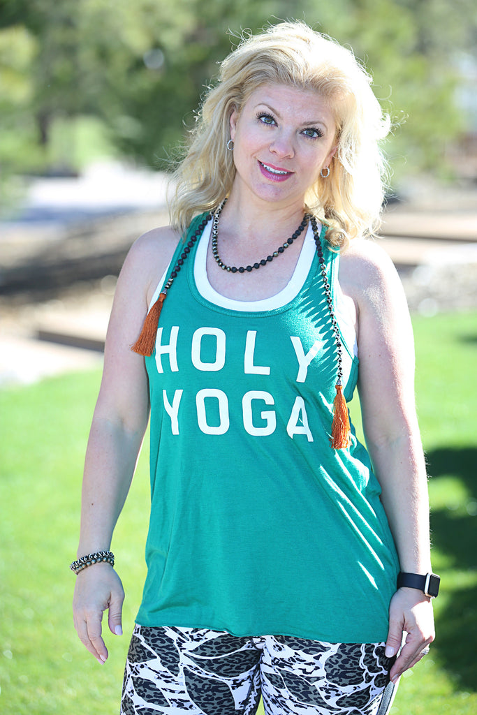 Stacked Holy Yoga - Womens Flowy Racerback Tank