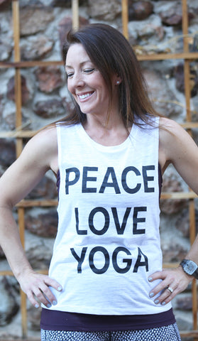 Peace, Love, Yoga- Women's Muscle Tank