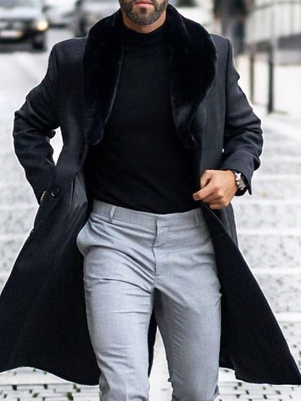 Long Button Plain Single-Breasted Casual Coat