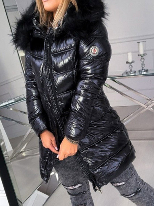 Loose Zipper Patchwork Mid-Length Cotton Padded Jacket