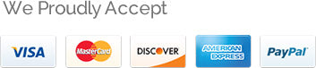 Visa, Master Card, Discover, American Express and Paypal