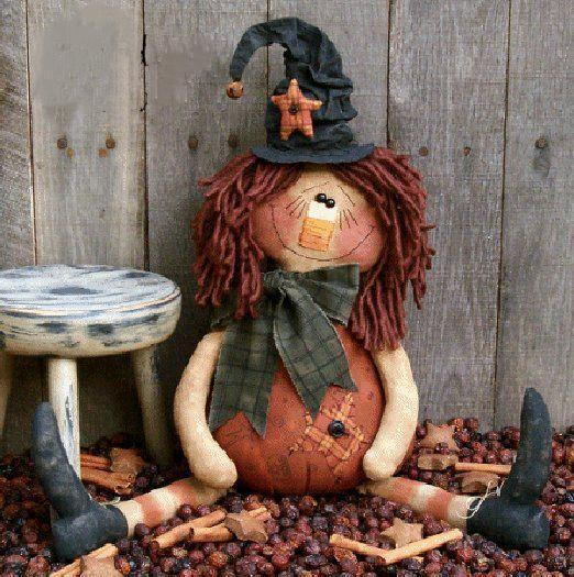 "Halloween tattered doll ""Gweneth the Good Witch"""