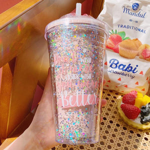 Candy Sequin Water Bottles with Straw
