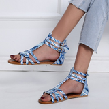 Leather Floral Pattern Ankle-wrap Strap Flat Sandals
