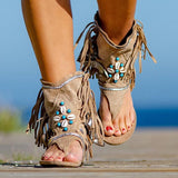 🔥BEST SELLER🔥【Get yours!】Women's Bohemian Fringed Toe Flat Sandals