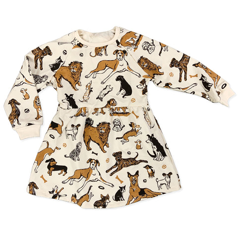 Dogs Long Sleeve Sweatshirt Dress