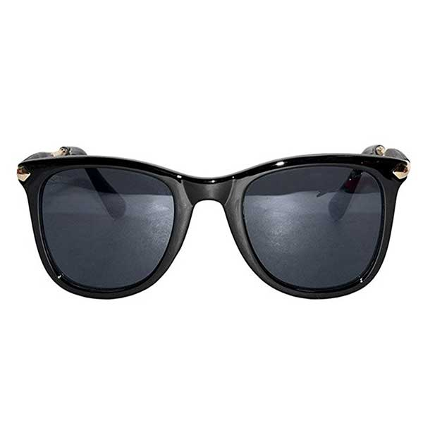 Elegante' Superior Rubber Temple Golden Black Unisex Wayfarer Sunglasses - diabazaar.com